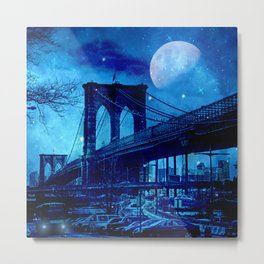 Full Moon Over Brooklyn Bridge Metal Print