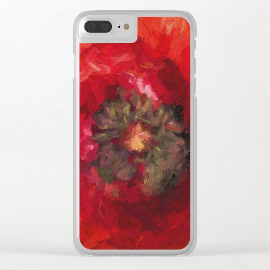 Poppy heart Clear iPhone Case