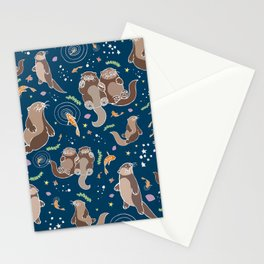 Sea Otters at Night Stationery Cards