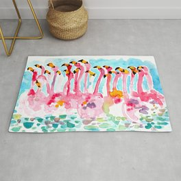 Welcome to Miami - Flamingos Illustration Rug