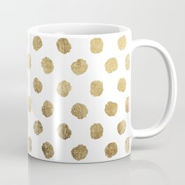 Luxurious faux gold leaf polka dots brushstrokes Coffee Mug