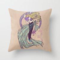 nouveau Throw Pillows featuring Spider Nouveau by Karen Hallion Illustrations