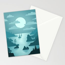 Norwegian Fjords - Minimal Art Stationery Cards