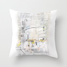 The reflection of a big city Throw Pillow