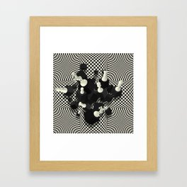 Chessboard and 3D Chess Pieces composition Framed Art Print