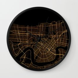Black and gold New Orleans map Wall Clock