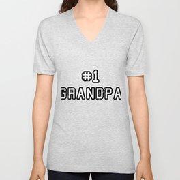 Family Love Grandfather Household Granddad Relationship Birth #1 Grandpa Gift Unisex V-Neck