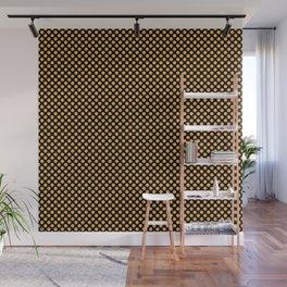 Black and Amber Polka Dots Wall Mural