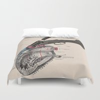 anxiety Duvet Covers featuring Anxiety by Grimmly Fiendish