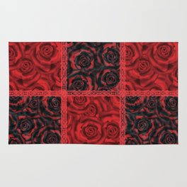 Patchwork . Roses are red. Rug