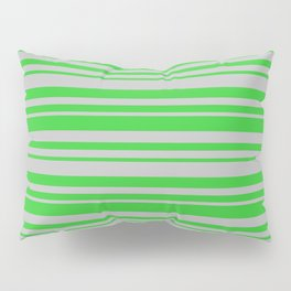 Lime Green & Grey Colored Lined/Striped Pattern Pillow Sham
