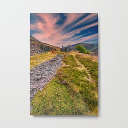 Quarry Sunset Snowdonia Metal Print