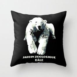 Vintage vector Zoo ad Basel polar bear Throw Pillow