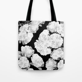 White Peony Flowers Black Background #decor #society6 #buyart Tote Bag