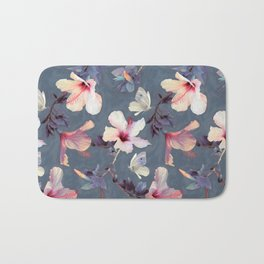 Butterflies and Hibiscus Flowers - a painted pattern Bath Mat