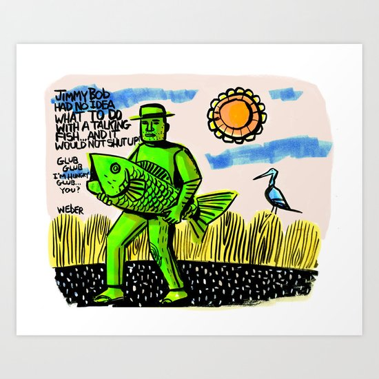 Jimmy Bob's Fishing Adventure Art Print