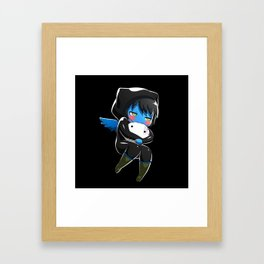 Fuzzy Chibi Luc (Expression 2) w/ Black Background (no cloud) Framed Art Print