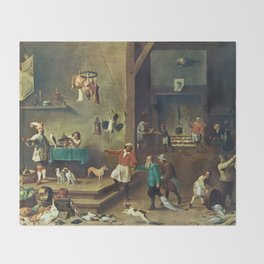 The Kitchen by David Teniers the Younger Throw Blanket