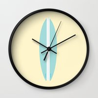 surfboard Wall Clocks featuring #91 Surfboard by MNML Thing