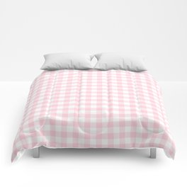 Light Soft Pastel Pink Cowgirl Buffalo Check Plaid Comforters