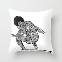 70s Throw Pillows featuring 70s surfer by terezamc.