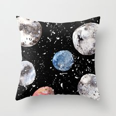 Many Moons - Watercolor - Planets - Solar System - Galaxy - Universe - Cosmic - Outerspace Throw Pillow
