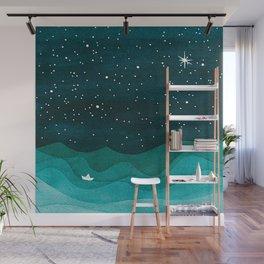 Starry Ocean, teal sailboat watercolor sea waves night Wall Mural