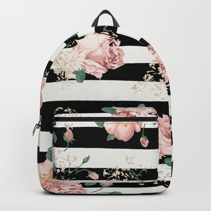 VINTAGE FLORAL ROSES BLACK AND WHITE STRIPES Backpack