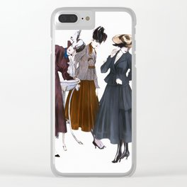 Three Vintage Dresses Clear iPhone Case