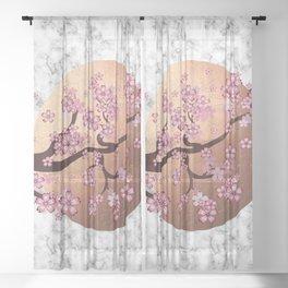 Blooming Sakura Branch on marble Sheer Curtain