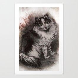 Big Black & White Cat - Louis Wain Art Print