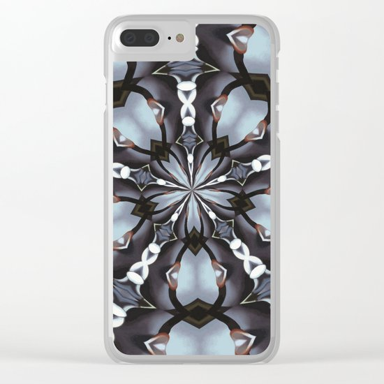 Shades Of Blue Kaleidoscope Clear iPhone Case