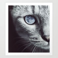 Moon cat Art Print