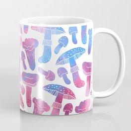 Hand painted pink teal watercolor mushrooms pattern Coffee Mug