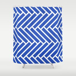 Classic blue and white herringbone pattern Shower Curtain