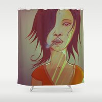smoking Shower Curtains featuring Smoking by IOSQ