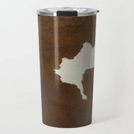 Dark Brown & White Cow Hide Travel Mug