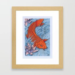Koi Fish And Lotus Flower Framed Art Print
