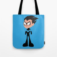 nightwing Tote Bags featuring Nightwing by Adrian Mentus