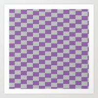 Purple and White Spiral Pattern Art Print
