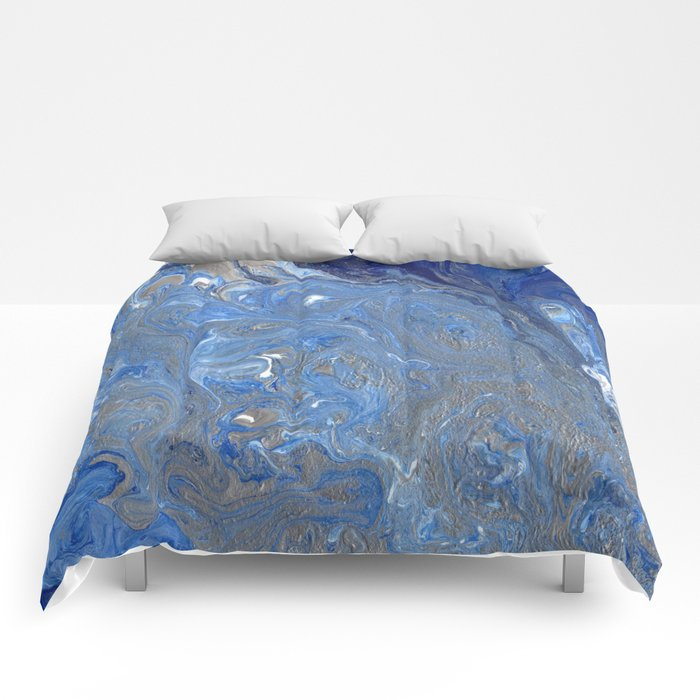 River of Silver Blues Comforters