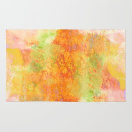 PASTEL IMAGININGS 3 Colorful Pretty Spring Summer Orange Yellow Peach Abstract Watercolor Painting Rug