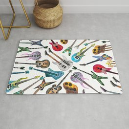 Electric Guitars Watercolor Rug