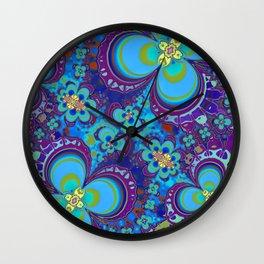 Bright Blue And Purple Flower Pattern Wall Clock