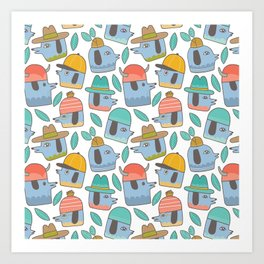 Pattern Project #38 / Dogs With Hats Art Print