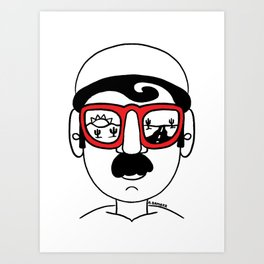 Desert Sunset Dream Views Red Sunglasses Mustache Man Art Print