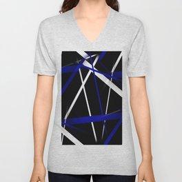 Seamless Royal Blue and White Stripes on A Black Background Unisex V-Neck