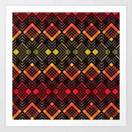TARTAN REVISTED - RED Art Print