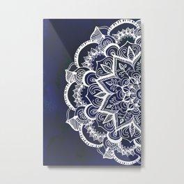 White Feather Mandala on Navy Metal Print