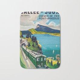 Vallee de Joux, Chemin de Fer Pont Brassus Vintage Travel Poster Bath Mat